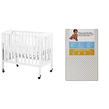 Dream On Me 3 in 1 Portable Folding Stationary Side Crib with Dream On Me 3 Portable Crib Mattress White