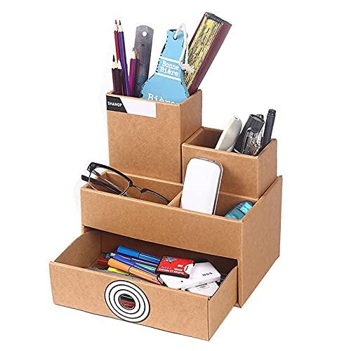 Organizador multifuncional de escritorio con cajón, soporte para bolígrafos, organizador para el hogar, la oficina y la escuela, 22 x 14 cm