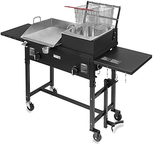 Barton 58 000 BTU Outdoor Gas Propane Double Burner Stove Cook Station Flat Top Griddle and product image