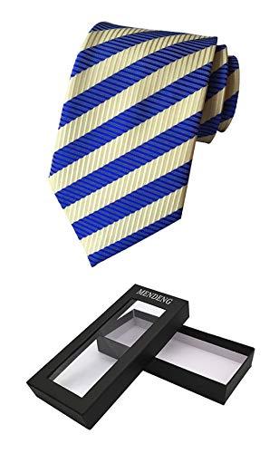 MENDENG Men Classic Blue Yellow Striped Jacquard Woven Silk Tie Necktie Gift Box