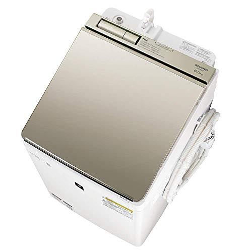シャープ SHARP 洗濯機 洗濯乾燥機 ES-PW8E-N ガラストップ 穴なし槽 インバーター 8kg ゴールド プラズマクラスター搭載