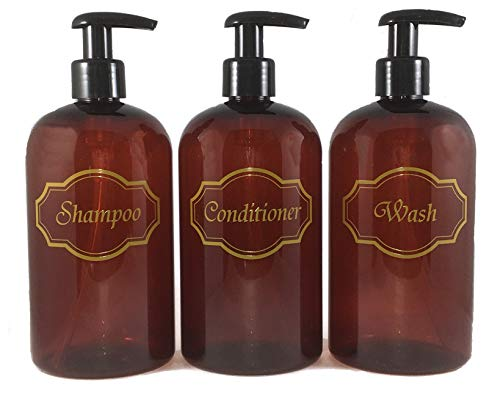 Bottiful Home-16 oz Amber Shampoo, Conditioner, Wash Shower Soap Dispensers-3 Refillable Empty PET...