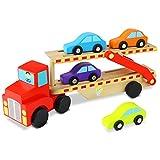 Nuheby Camion Transporteur Jouet Bois Voiture Enfant Garçons Filles 3 4 5 6 Ans, Transporteur avec 4 Petites Voitures Miniatures Jouet Véhicule Cadeau pour Enfants