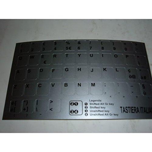 AdesiviTastiera.it - Adesivi lettere tastiera Italiano fondo silver lettere nere
