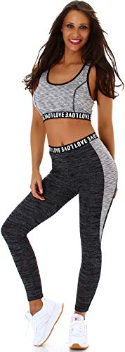 StyleLightOne Damen Fitness Set Sport Zweiteiler Freizeit Zweifarbig Stretch High-Waist Crop-Top Leggings Racerback, One Size 36 S, Grau