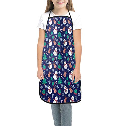 Cute Christmas with Snowman and Reindeer Children's Apron with Pockets, Adjustable Neck Strap For Cooking Panting Baking