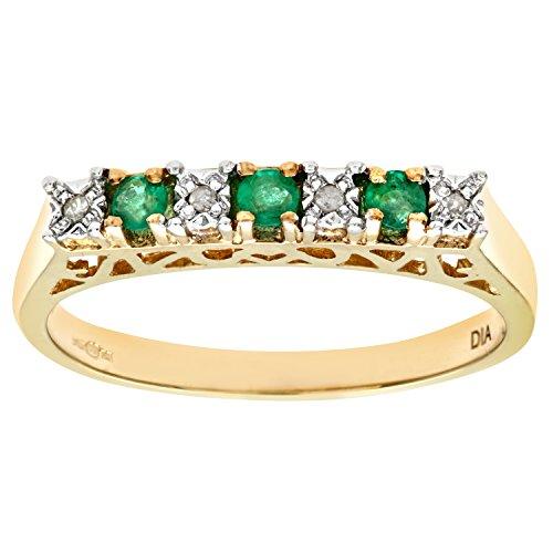 Naava Anillo para Mujer de Oro con Esmeraldas y Diamantes