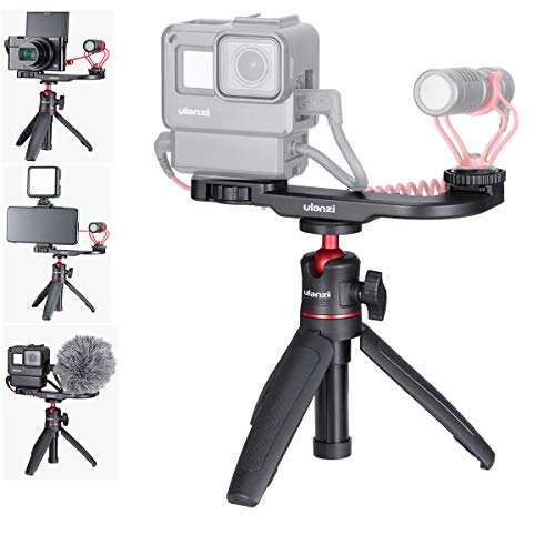 HAFOKO Smartphone Vlog Kit Cámara Video Vlogging Mini Trípode de Escritorio Extensión Stick Handheld Grip Gun-Style con Cold Shoe Mount 1/4'Tornillo Compatible con Camera Action Camera Smartphone