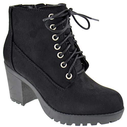 SODA Second S Womens Lace Up Chunky Heel Side Zipper Platform Booties Black Suede 8