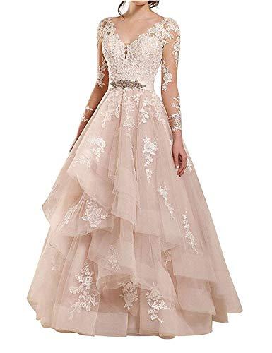 V-Ausschnitt Spitze Brautkleider Lang Hochzeitskleider A-Linie Langarm Brautmode Rückenfrei Rosa 36