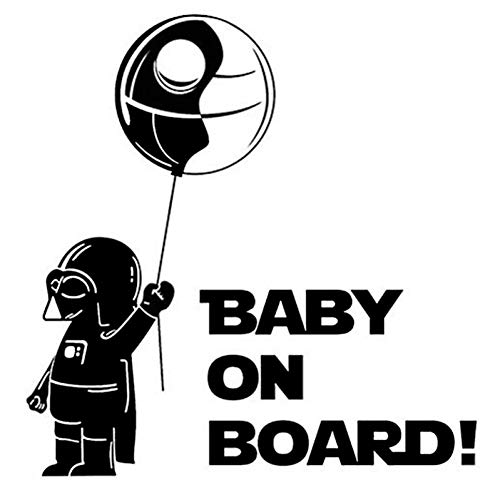DSRLO Autocollant de Voiture 14.6 * 15Cm Cool Boy Play Jeu de rôle Funny Baby on Board Car Styling Sticker Creative Car Window Decal Black/Silver