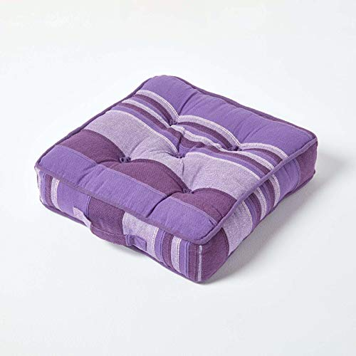 HOMESCAPES Morocco Striped 100% Cotton Floor Cushion Purple Mauve 40 x 40 x 8 cm Square Indoor Garden Dining Chair Booster Seat Pad Cushion