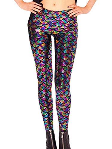 Aventy Damen-Leggings, sexy Meerjungfrau, Fischschuppen-Design, elastisch, dehnbar Gr. One size , regenbogenfarben