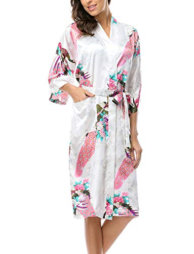 CHENXI Sexy Kimono Robe Japanese Yukata OBI Cosplay Dress Vintage Sleepwear White