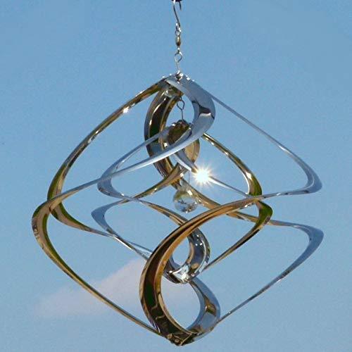 Pommerntraum ®| Edelstahlwindspiel MIT 4 cm KRISTALL - ROSTFREI | Windspiel Edelstahl | Winddancer | Double-Twister | Twister | Garten Kunst | 40 cm - XL