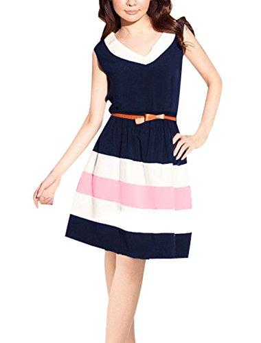 Allegra K Women V Neck Sleeveless Striped Flared Short Skater Dress XS Dark Blue