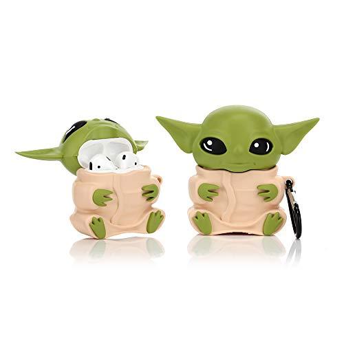 YIGEYI Custodia in Silicone Compatibile con Airpods 1 e 2 Funny Cute Cartoon 3D Case Cover[Yoda Alien] (Giallo)