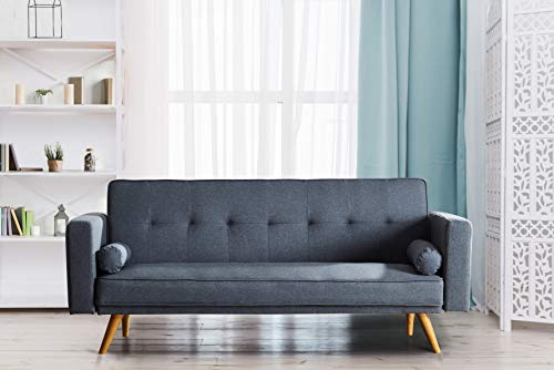 Comfy Living Stylish Fabric Upholstered Clic Clac Sofa Bed (Grey)