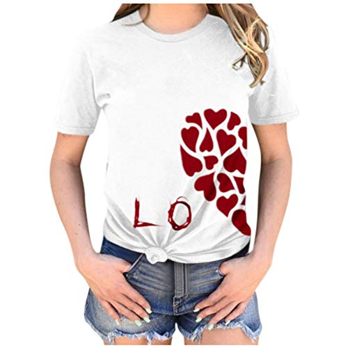 Couple Shirts Dasongff Valentijnsdag half hart heren linker dames juiste kant 1/2 liefde paar vrouwen T-shirt love shirt basic casual thee Large wit/dames.