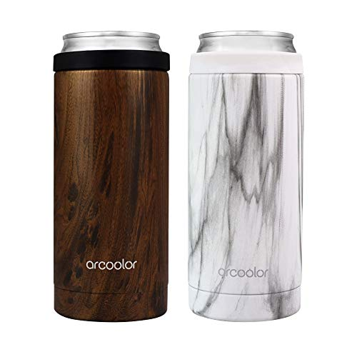 Arcoolor Skinny Can Cooler for Slim Beer, Stainless Steel 12oz Koozy Sleeve, Double Wall Vacuum...