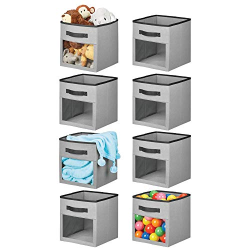 mDesign Soft Fabric Closet Storage Organizer Cube with Front View Window Bin, Storage for Baby, Kids Room, Nursery, Toy Room, Furniture Units, 8 Pack - Gray/Black