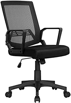 Yaheetech Mid-Back Desk Chair with Armrest and Swivel Casters