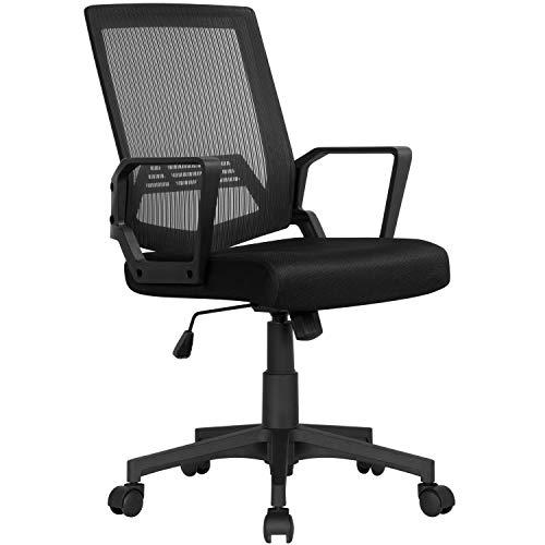Yaheetech Bürostuhl Schreibtischstuhl ergonomischer Drehstuhl Sportsitz mit Netzrücken Chefsessel Wippfunktion mit Armlehnen Schwarz