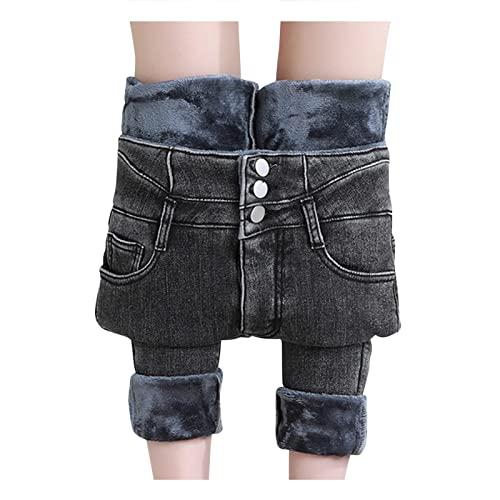 Winter-Jeans Damen-Gefüttert High-Waist Straight-Lang Fleece-Thermohose: Jeanshose Winterhose Damen Thermo Fleecehose Warm Leicht Outdoor Sporthose