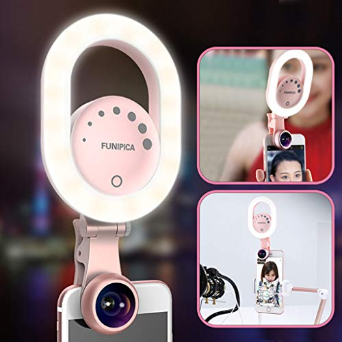 LIJUEZL Lentille de téléphone Portable Beauty Beauty Light avec Objectif Grand Angle à Clipser - Lampe Torche Rechargeable - Live Stream