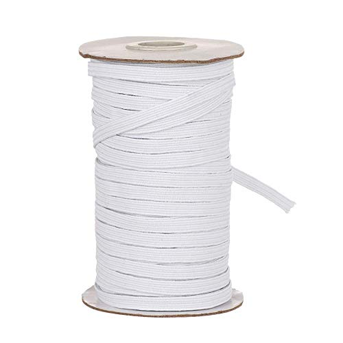 Genenic 1/4 Inch Elastic Bands for Sewing, White Elastic String Cord, Soft Handmade Making Crafts Elastic Stretch Rope (30yards, White)