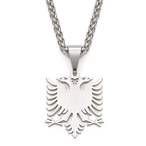 Albanien Adler Anhänger Halsketten Silber Polieren Edelstahl Schmuck Ethnische Geschenke Für Frauen Männer
