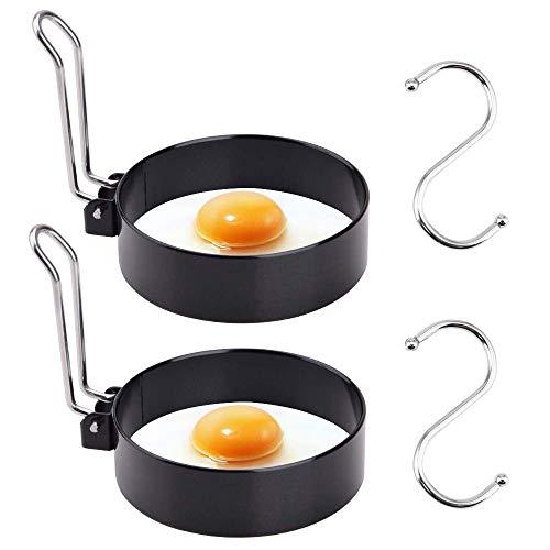 KECRULV Anillos de Huevo Antiadherentes, 2 Piezas Moldes para Huevos Fritos de Acero Inoxidable con 2 Piezas Acero Inoxidable Gancho en Forma de S para Horno, para Huevos Frito y Panqueques