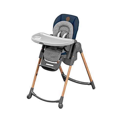 Maxi-Cosi Minla trona Evolutiva, reclinable y plegable, 6 en 1 trona convertible, silla para niños, trona portátil de viaje e Asiento Elevador, crece con el niño 0 meses - 7 años, essential blue
