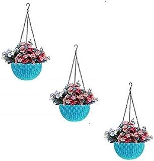 Round Gamla Pot Flower Hanging Round Rattan Woven Plastic Flower Hanging Basket Beautiful Pot for Garden Balcony (3 Pcs, S...