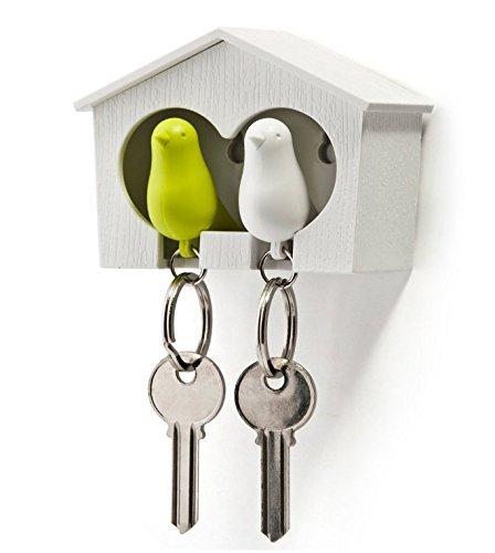 Ogquaton Neuheit Creative Double Sparrow Wall Key Schlüsselanhänger Halter Grün-Weiß Premium-Qualität