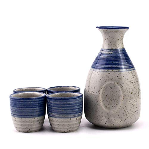 N&G Daily Equipment Japanese Sake Set Exquisite 5 Piece Sake Cup Set Blue Texture Design Ceramic Cups For Cold/Warm/Shochu/Tea Best Gift For Family and Friends