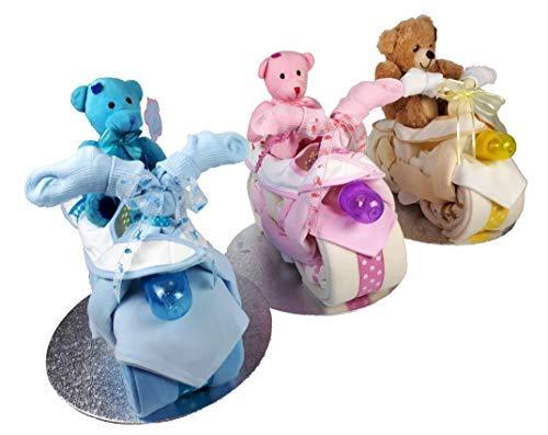Pañal para tarta de bicicleta, bicicleta, moto, color amarillo, unisex, azul, rosa, regalo para bebé