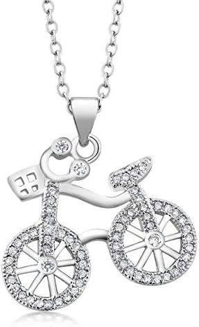 Gem Stone King 925 Sterling Silver Bicycle Pendant Necklace for Women with White CZ on Matching product image