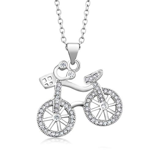 Gem Stone King 925 Sterling Silver Bicycle Pendant Necklace for Women with White CZ on Matching 18 Inch Silver Chain