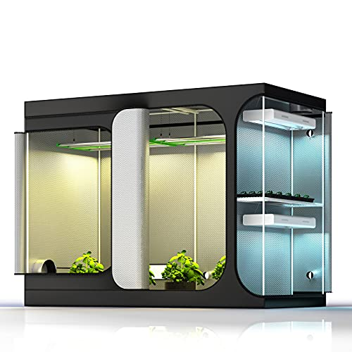 """TopoGrow 2-in-1 108""""X48""""X80""""Grow Tent Reflective 600D Canvas Mylar Grow Tents House Room with Floor Tray for Indoor Plant Lodge Propagation, Veg, Flower Hydroponic Growing System"""