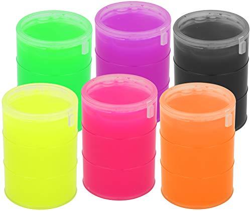 COM-FOUR® 6x pups slijm in een vat in felle kleuren - feestcadeau voor verjaardagen van kinderen - antistress slijm - kneedslijm om mee te spelen (06 stuks - kleurrijk)