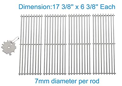 4PCS Stainless Steel Cooking Grid Grates Replacement for Broil King Baron 320, 340, 420, 440, 490 and Huntington 2122-64 2122-67 6020-54 6020-57 6020-64 6020-67 6023-89, Includes 1PC SS Grill Cleaner