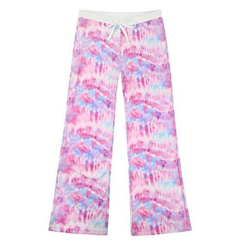 HDE Girl's Pajama Pants Soft Sleepwear Casual Loose Lounge Bottoms (Cotton Candy Tie Dye, 14)