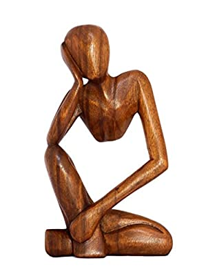 """G6 Collection 12"""" Wooden Handmade Abstract Sculpture Statue Handcrafted - Thinking Man - Gift Art Decorative Home Decor Figurine Accent Decoration Artwork Hand Carved (Brown)"""