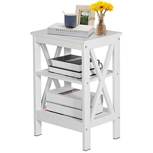 VECELO White Beside Table Nightstands Sofa Side/End Storage Shelf X-Design Table Living Room Bedroom Furniture