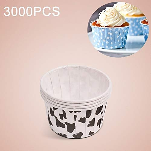 Great Price! Luoshan 3000 PCS Cow Spot Pattern Round Lamination Cake Cup Muffin Cases Chocolate Cupc...
