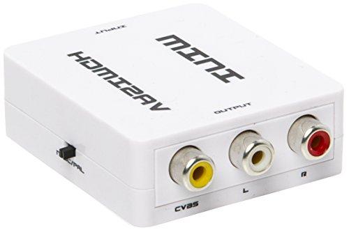 Portta WPETHC Convertisseur Mini HDMI/DVI 1080p à AV/CVBS Composite avec Support NTSC/PAL TV Blanc - ne convient pas pour windows 10