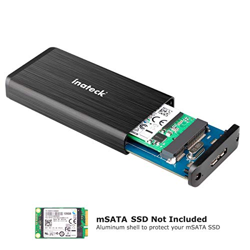 Inateck [Unterstützt UASP] USB 3.0 M50 mSATA Aluminium SSD Gehäuse Adapter Case mit USB 3.0 Datenkabel für M50 mSATA SSD