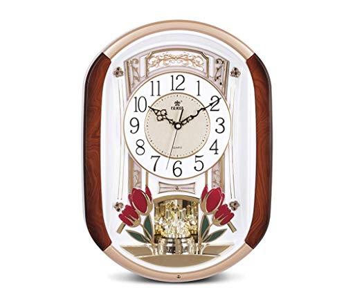 Horloge murale style européen salon créatif horloge de mode mariage horloge murale luxe musique temps muet quartz (Couleur : Or)