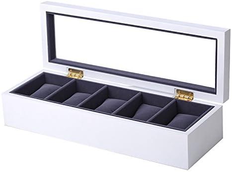 Joyero para 5 relojes de madera blanco con terciopelo azul oscuro, ventana de presentación de cristal auténtico